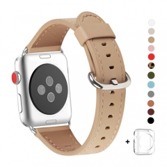 WFEAGL Compatible Apple Watch Band 38mm 42mm, Top Grain Leather Band for iWatch Series 3,Series 2,Series 1,Sport, Edition (Camel Band+Silver Buckle)