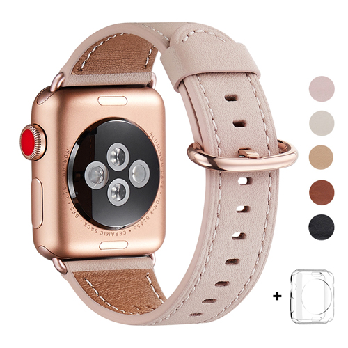 WFEAGL Compatible Apple Watch Band 38mm 42mm, Top Grain Leather Band for iWatch Series 3,Series 2,Series 1,Sport, Edition (Pink Sand Band+Gold Buckle)