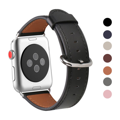 WFEAGL Compatible Apple Watch Band 38mm 42mm, Top Grain Leather Band for iWatch Series 3,Series 2,Series 1,Sport, Edition (Black Band+Silver Buckle)