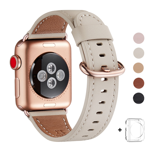 WFEAGL Compatible Apple Watch Band 38mm, Top Grain Leather Band for iWatch Series 3,Series 2,Series 1,Sport, Edition (Ivory White Band+Gold Buckle)