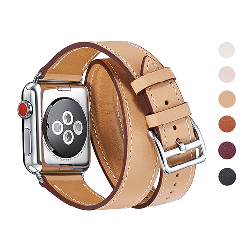 WFEAGL Compatible iWatch Band, Top Grain Leather Band Replacement Strap with Stainless Steel Clasp for iWatch Series 3,Series 2,Series 1,Sport