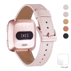 WFEAGL for Fitbit Versa Bands, Top Grain Leather Band Replacement Strap for Fitbit Versa Fitness Smart Watch (Pink Sand Band+ RoseGold Buckle)