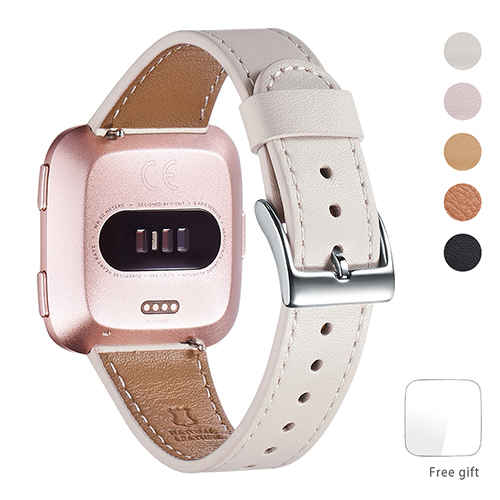WFEAGL for Fitbit Versa Bands, Top Grain Leather Band Replacement Strap for Fitbit Versa Fitness Smart Watch (Ivory White Band+Silver Buckle)