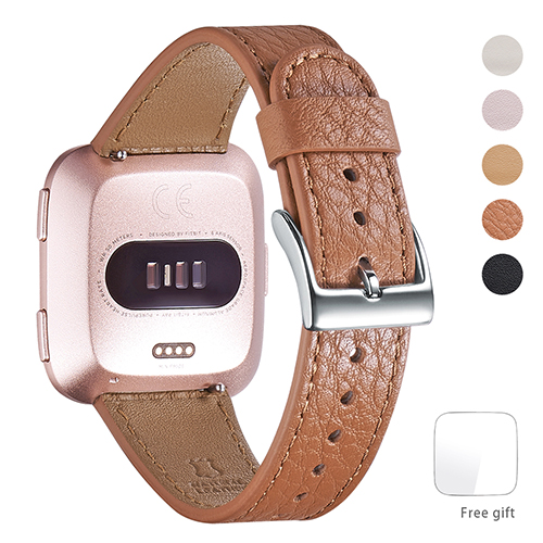 WFEAGL for Fitbit Versa Bands, Top Grain Leather Band Replacement Strap for Fitbit Versa Fitness Smart Watch (Brown Band+Silver Buckle)