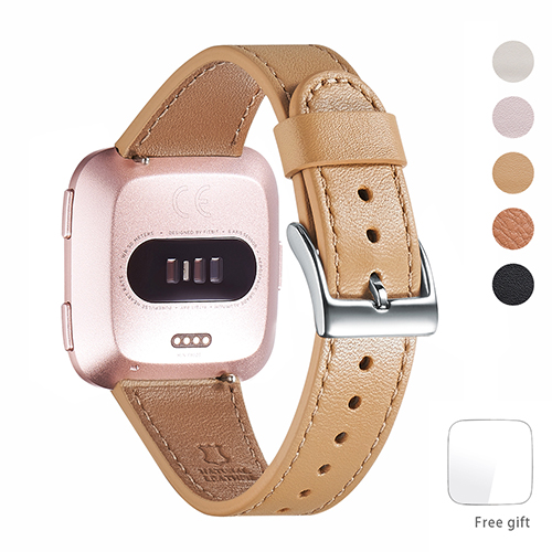 WFEAGL for Fitbit Versa Bands, Top Grain Leather Band Replacement Strap for Fitbit Versa Fitness Smart Watch (Camel Band+Silver Buckle)