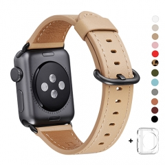 WFEAGL Compatible Apple Watch Band 38mm 42mm, Top Grain Leather Band for iWatch Series 3,Series 2,Series 1,Sport, Edition (Camel Band+Black Buckle)