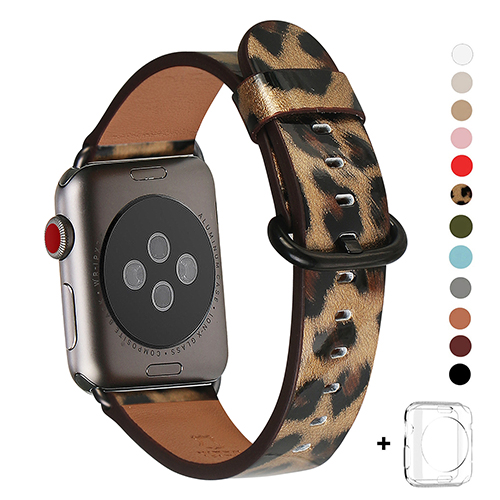 WFEAGL Compatible Apple Watch Band 38mm 42mm, Top Grain Leather Band for iWatch Series 3,Series 2,Series 1,Sport, Edition (Leopard Band+Black Buckle)