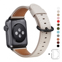WFEAGL Compatible Apple Watch Band 38mm 42mm, Top Grain Leather Band for iWatch Series 3,Series 2,Series 1,Sport, Edition (IvoryWhite+Black Buckle)