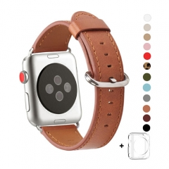 WFEAGL Compatible Apple Watch Band 38mm 42mm, Top Grain Leather Band for iWatch Series 3,Series 2,Series 1,Sport, Edition (Brown Band+Silver Buckle)