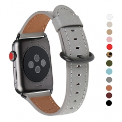 WFEAGL Compatible Apple Watch Band 38mm 42mm, Top Grain Leather Band for iWatch Series 3,Series 2,Series 1,Sport, Edition (Gray Band+Black Buckle)