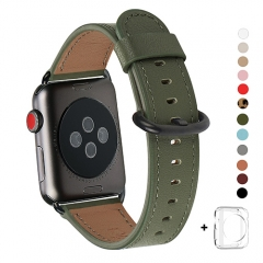 WFEAGL Compatible Apple Watch Band 38mm 42mm, Top Grain Leather Band for iWatch Series 3,Series 2,Series 1,Sport, Edition (Olive Green+Black Buckle)
