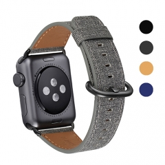 WFEAGL Compatible Apple Watch Band 38mm 42mm, Top Grain Leather Band for iWatch Series 3,Series 2,Series 1,Sport, Edition (Denim Grey+Black Buckle)