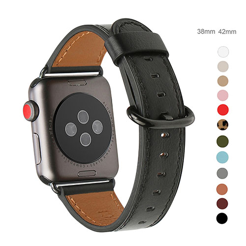 WFEAGL Compatible Apple Watch Band 38mm 42mm, Top Grain Leather Band for iWatch Series 3,Series 2,Series 1,Sport, Edition (Black Band+Black Buckle)