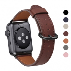 WFEAGL Compatible Apple Watch Band 38mm 42mm, Top Grain Leather Band for iWatch Series 3,Series 2,Series 1,Sport, Edition (Dark Brown+Black Buckle)