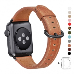 WFEAGL Compatible Apple Watch Band 38mm 42mm, Top Grain Leather Band for iWatch Series 3,Series 2,Series 1,Sport, Edition (Brown Band+Black Buckle)