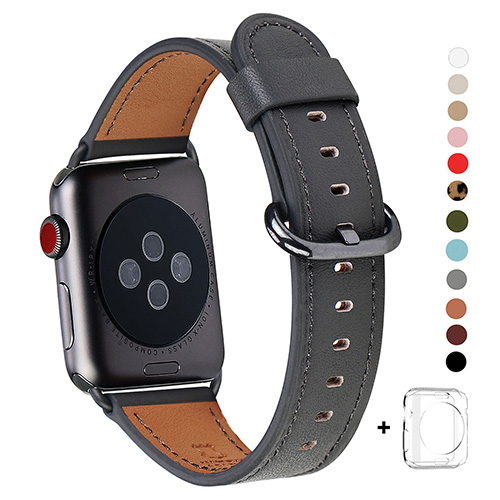 WFEAGL Compatible Apple Watch Band 38mm, Top Grain Leather Band for iWatch Series 3,Series 2,Series 1,Sport, Edition (Dark spare grey+Black Buckle)