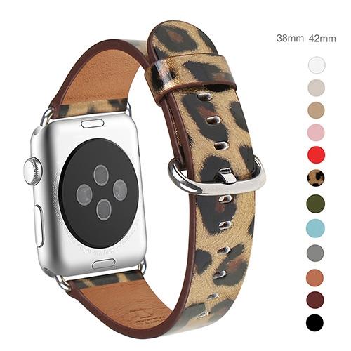 WFEAGL Compatible Apple Watch Band 38mm 40mm, Top Grain Leather Band for iWatch Series 3,Series 2,Series 1,Sport, Edition (Leopard Band+Silver Buckle)