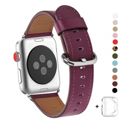 WFEAGL Compatible Apple Watch Band 38mm 40mm, Top Grain Leather Band for iWatch Series 3,Series 2,Series 1,Sport, Edition (Purple Band+Silver Buckle)