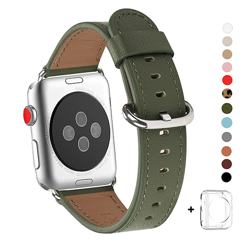 WFEAGL Compatible Apple Watch Band 38mm, Top Grain Leather Band for iWatch Series 3,Series 2,Series 1,Sport, Edition (Olive Green Band+Silver Buckle)