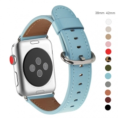 WFEAGL Compatible Apple Watch Band 38mm, Top Grain Leather Band for iWatch Series 3,Series 2,Series 1,Sport, Edition (Tiffany Blue Band+Silver Buckle)