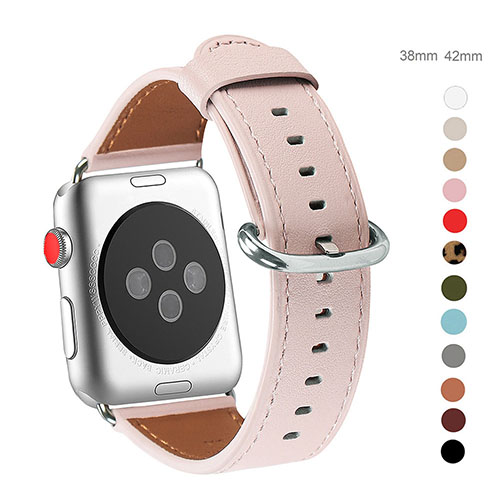 WFEAGL Compatible Apple Watch Band 38mm 40mm, Top Grain Leather Band for iWatch Series 3,Series 2,Series 1,Sport, Edition (Pink Band+Silver Buckle)