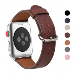 WFEAGL Compatible Apple Watch Band 38mm, Top Grain Leather Band for iWatch Series 3,Series 2,Series 1,Sport, Edition (Dark Brown Band+Silver Buckle)