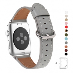 WFEAGL Compatible Apple Watch Band 38mm, Top Grain Leather Band for iWatch Series 3,Series 2,Series 1,Sport, Edition (Grey Band+Silver Buckle)