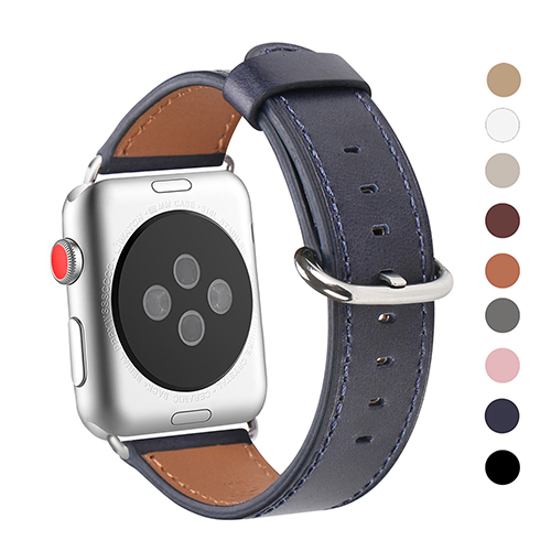 WFEAGL Compatible Apple Watch Band 38mm, Top Grain Leather Band for iWatch Series 3,Series 2,Series 1,Sport, Edition (Dark Blue Band+Silver Buckle)