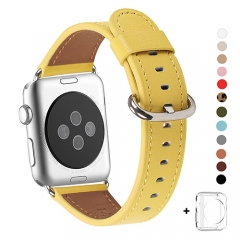 WFEAGL Compatible Apple Watch Band 38mm 40mm, Top Grain Leather Band for iWatch Series 3,Series 2,Series 1,Sport, Edition (Yellow Band+Silver Buckle)