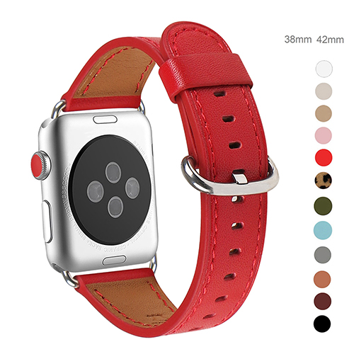 WFEAGL Compatible Apple Watch Band 38mm 40mm, Top Grain Leather Band for iWatch Series 3,Series 2,Series 1,Sport, Edition (Red Band+Silver Buckle)
