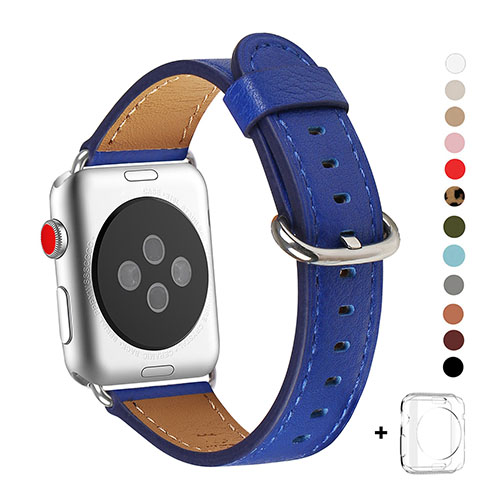 WFEAGL Compatible Apple Watch Band 38mm, Top Grain Leather Band for iWatch Series 3,Series 2,Series 1,Sport, Edition (Sapphire Blue+Silver Buckle)