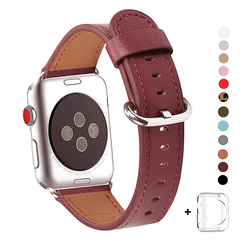 WFEAGL Compatible Apple Watch Band 38mm 40mm, Top Grain Leather Band for iWatch Series 3,Series 2,Series 1,Sport, Edition (Wine Band+Silver Buckle)