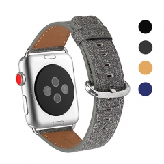 WFEAGL Compatible Apple Watch Band 38mm, Top Grain Leather Band for iWatch Series 3,Series 2,Series 1,Sport, Edition (Denim Grey Band+Silver Buckle)