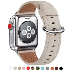 WFEAGL Compatible iWatch Band 38mm 40mm 42mm 44mm, Top Grain Leather Bands of Many Colors for iWatch Series 5,Series 4,Series 3,Series 2,Series 1 (Ivo