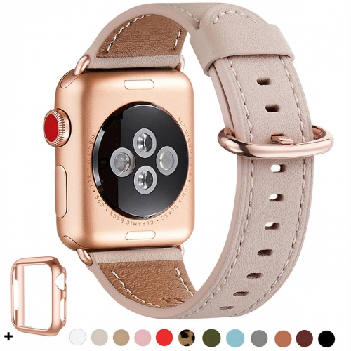 WFEAGL Compatible iWatch Band 38mm 40mm 42mm 44mm, Top Grain Leather Bands of Many Colors for iWatch Series 5,Series 4,Series 3,Series 2,Series 1 (Pin